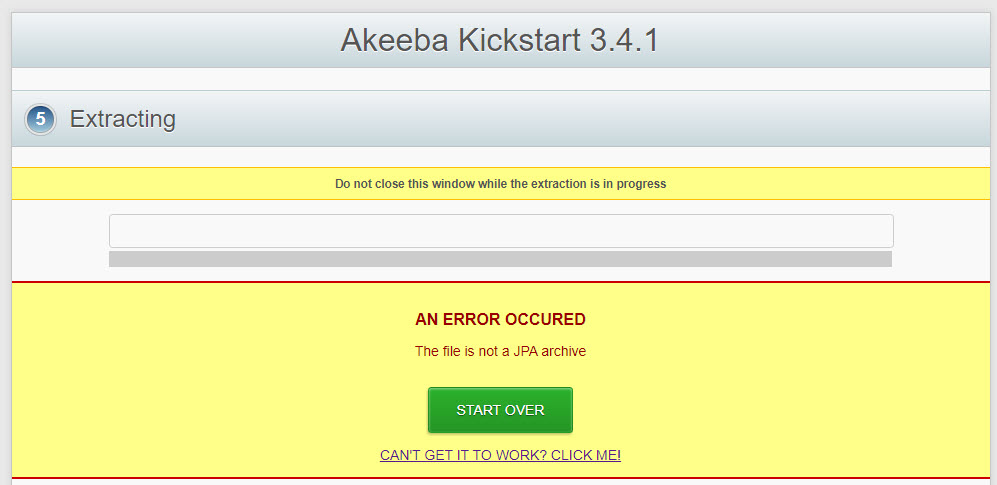 akeeba file is not jpa archive