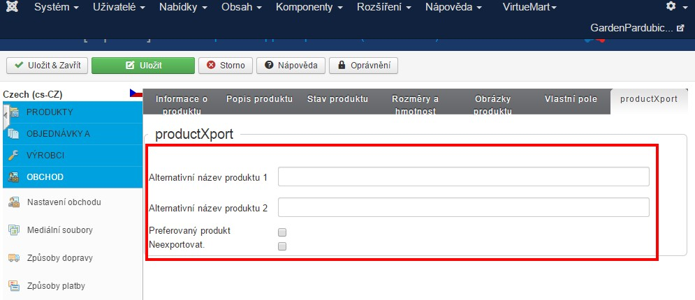 alternativni nazev productXport