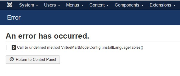error call to undefined virtuemartmodelconfig