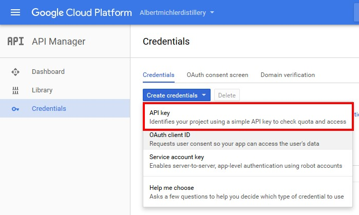 create credentials api keys