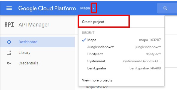 google maps api create project